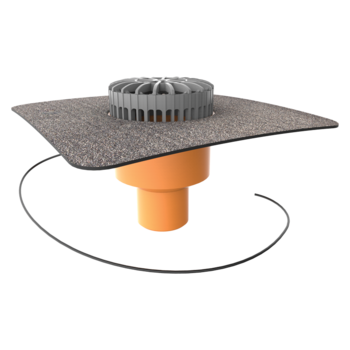 Vertical heated terrace outlets with integrated bitumen sleeve