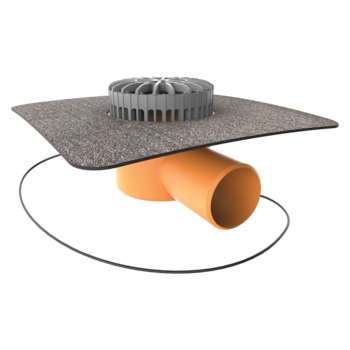 Horizontal heated terrace outlets with integrated bitumen sleeve