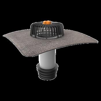Vertical sanitation outlets with integrated bitumen sleeve
