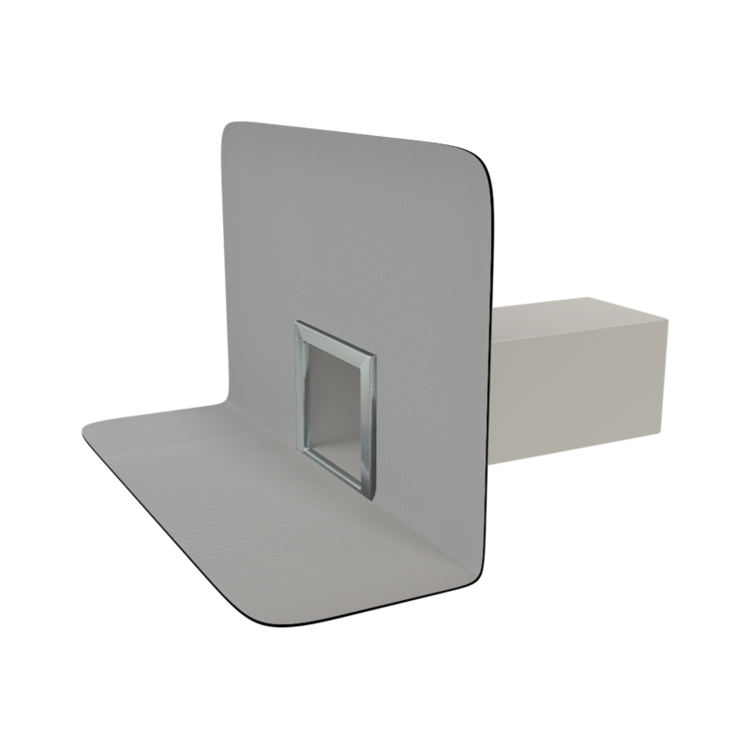 Squared through wall outlets with integrated PVC sleeve